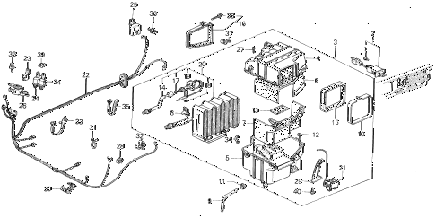 1986 civic GL 4 DOOR 5MT A/C UNIT (KEIHIN) diagram