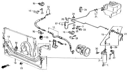 1986 civic **(1300) 3 DOOR 4MT A/C HOSES - PIPES (KEIHIN) diagram