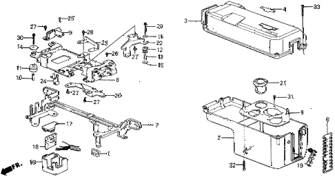 1987 civic WV 5 DOOR 5MT NO. 1 CONTROL BOX COVER diagram