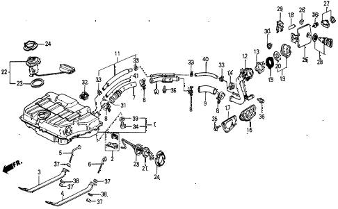 1987 civic DX 5 DOOR 5MT FUEL TANK diagram