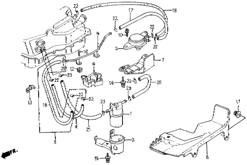 1987 civic WV 5 DOOR 5MT FUEL STRAINER - FUEL TUBING diagram