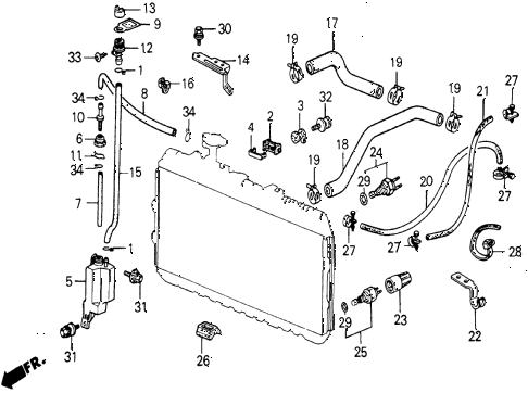 1987 civic WV 5 DOOR 5MT RADIATOR HOSE diagram