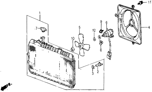 1987 civic WV 5 DOOR 5MT RADIATOR (TOYO) diagram