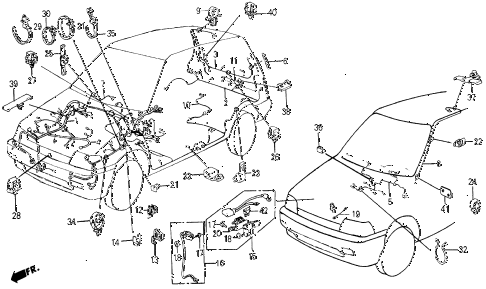 1987 civic WV 5 DOOR 5MT WIRE HARNESS diagram