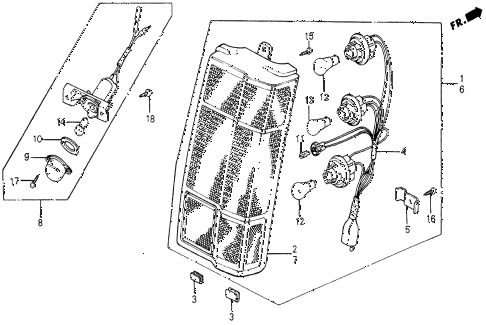 1987 civic DX 5 DOOR 5MT TAILLIGHT diagram