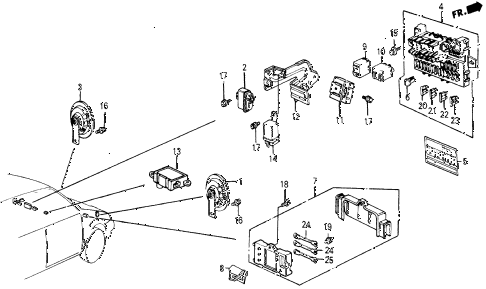 1987 civic WV 5 DOOR 5MT FUSE BOX - RELAY - HORN diagram