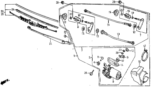 1987 civic WV 5 DOOR 5MT FRONT WINDSHIELD WIPER diagram