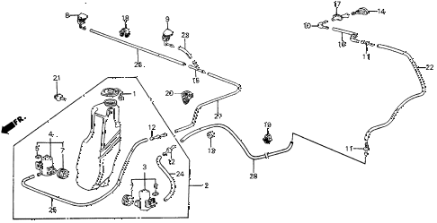 1987 civic DX 5 DOOR 5MT WINDSHIELD WASHER diagram