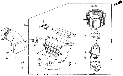 1987 civic WV 5 DOOR 5MT HEATER BLOWER diagram