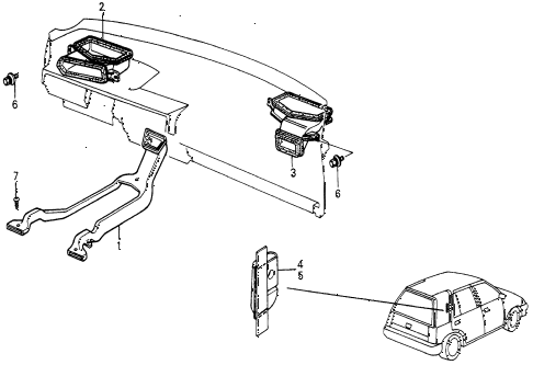 1987 civic DX 5 DOOR 5MT HEATER DUCT diagram