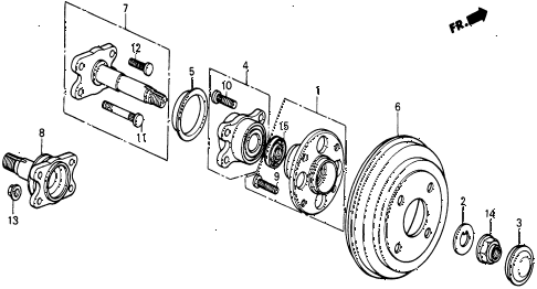 1987 civic WV 5 DOOR 5MT REAR BRAKE DRUM diagram