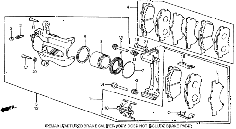 1987 civic WV 5 DOOR 5MT FRONT BRAKE diagram