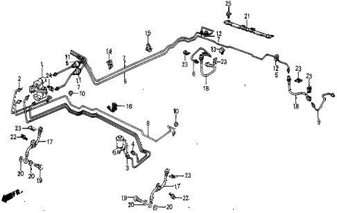 1987 civic WV 5 DOOR 5MT BRAKE LINES diagram