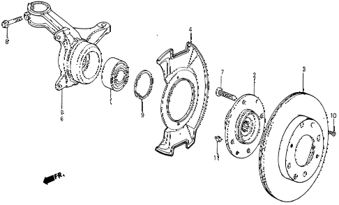 1987 civic WV 5 DOOR 5MT STEERING KNUCKLE diagram