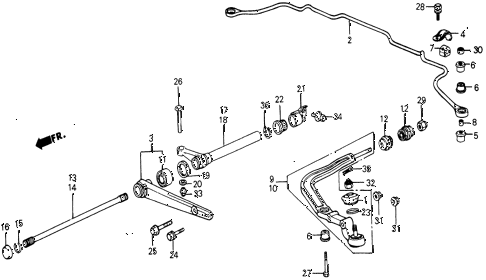 1987 civic DX 5 DOOR 5MT FRONT LOWER ARM diagram