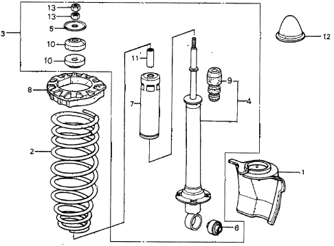 1987 civic WV 5 DOOR 5MT REAR SHOCK ABSORBER diagram