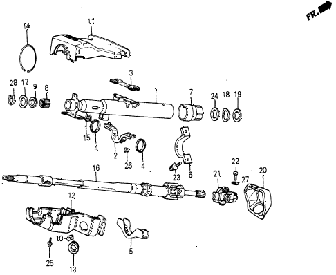 1987 civic DX 5 DOOR 5MT STEERING COLUMN diagram