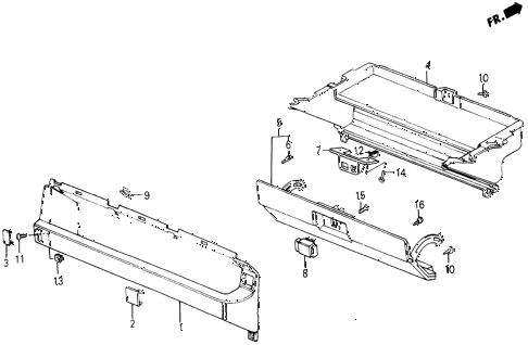 1987 civic DX 5 DOOR 5MT GLOVE BOX COMPONENTS diagram