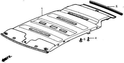 1987 civic DX 5 DOOR 5MT HEADLINER TRIM diagram