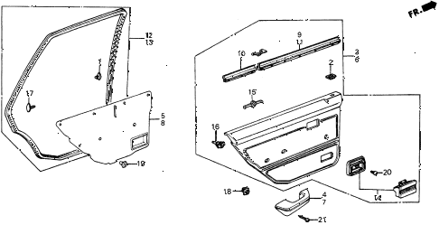 1987 civic DX 5 DOOR 5MT REAR DOOR LINING diagram
