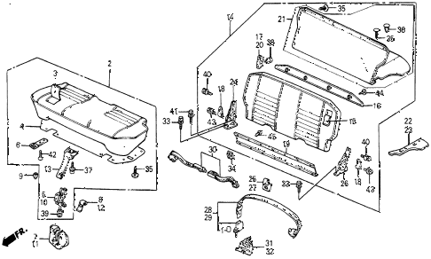 1987 civic WV 5 DOOR 5MT REAR SEAT - SEAT BELT (WAGOVAN) diagram