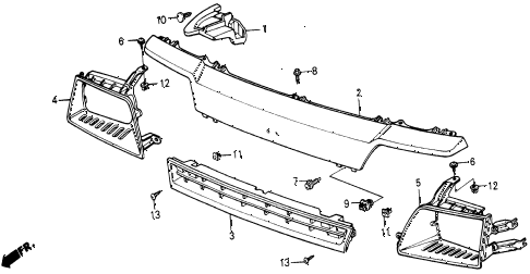1987 civic WV 5 DOOR 5MT FRONT GRILLE diagram