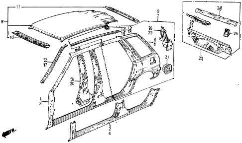 1987 civic WV 5 DOOR 5MT OUTER PANEL diagram