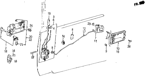 1987 civic WV 5 DOOR 5MT FRONT DOOR LOCKS diagram