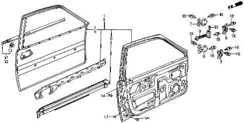 1987 civic DX 5 DOOR 5MT FRONT DOOR PANELS diagram