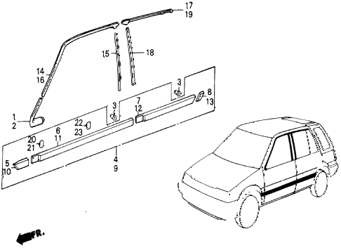 1987 civic DX 5 DOOR 5MT SIDE PROTECTOR diagram