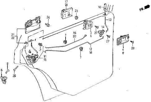 1987 civic WV 5 DOOR 5MT REAR DOOR LOCKS diagram