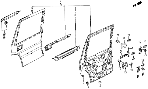 1987 civic WV 5 DOOR 5MT REAR DOOR PANELS diagram