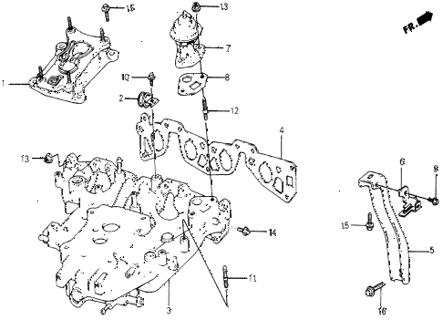 1987 civic WV 5 DOOR 5MT INTAKE MANIFOLD diagram