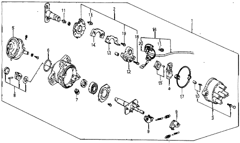 1987 civic WV 5 DOOR 5MT DISTRIBUTOR (HITACHI) diagram