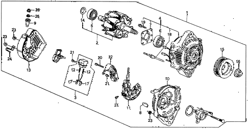 1987 civic WV 5 DOOR 5MT ALTERNATOR diagram