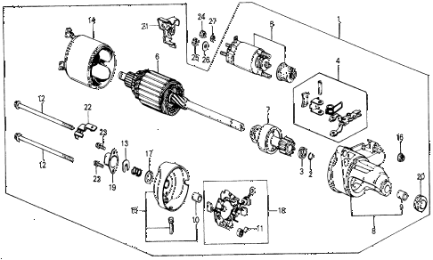 1987 civic DX 5 DOOR 5MT STARTER MOTOR (DENSO) (0.8KW) diagram
