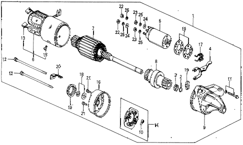 1987 civic DX 5 DOOR 5MT STARTER MOTOR (HITACHI) diagram