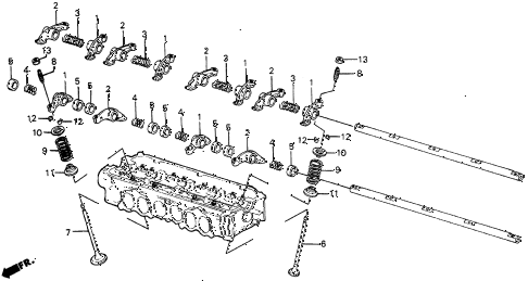 1987 civic WV 5 DOOR 5MT VALVE - ROCKER ARM diagram