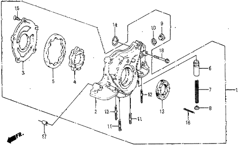 1987 civic DX 5 DOOR 5MT OIL PUMP diagram