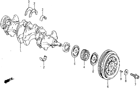1987 civic DX 5 DOOR 5MT CRANKSHAFT diagram