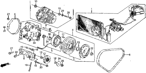 1987 civic DX 5 DOOR 5MT A/C COMPRESSOR (KEIHIN) diagram