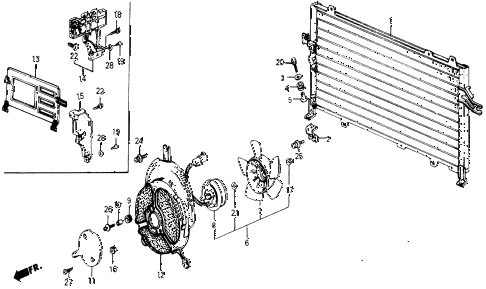 1987 civic DX 5 DOOR 5MT A/C CONDENSER (KEIHIN) diagram