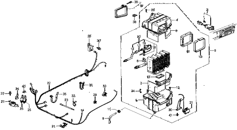 1987 civic DX 5 DOOR 5MT A/C COOLING UNIT (KEIHIN) diagram