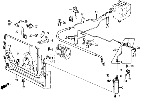 1987 civic DX 5 DOOR 5MT A/C HOSES - PIPES (KEIHIN) diagram
