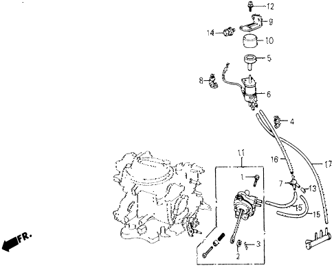1987 civic DX 5 DOOR 5MT A/C VALVE - TUBING (SANDEN) diagram