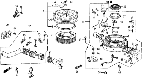 1986 civic 4WD 5 DOOR 5MT AIR CLEANER diagram