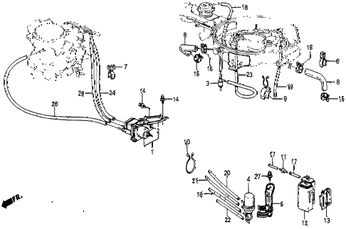 1986 civic 4WD 5 DOOR 5MT AIR CLEANER TUBING diagram