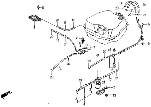 1986 civic 4WD 5 DOOR 5MT FUEL STRAINER - FUEL TUBING diagram
