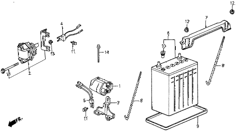1986 civic 4WD 5 DOOR 5MT IGNITION COIL - BATTERY diagram