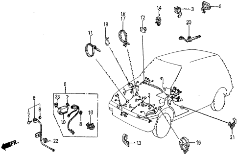 1986 civic 4WD 5 DOOR 5MT CABIN WIRE HARNESS diagram